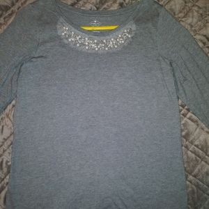St. John's Bay Gray Blouse with Pearl Detail